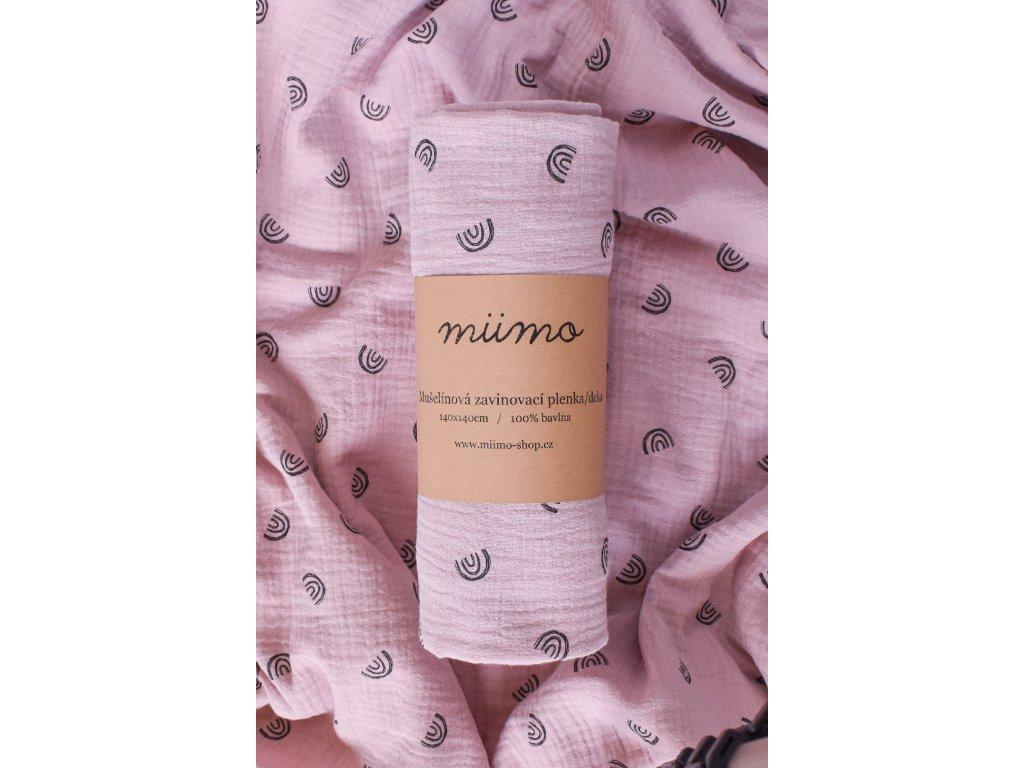 Mušelínová deka duhy - starorůžová