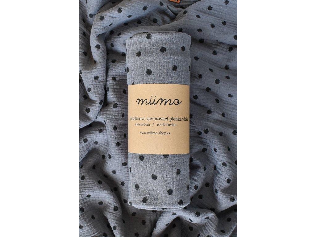 Mušelínová deka puntíky - tmavě šedá