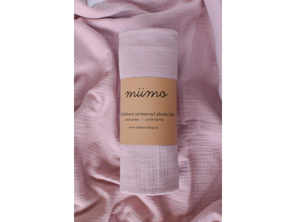 Mušelínová deka - starorůžová