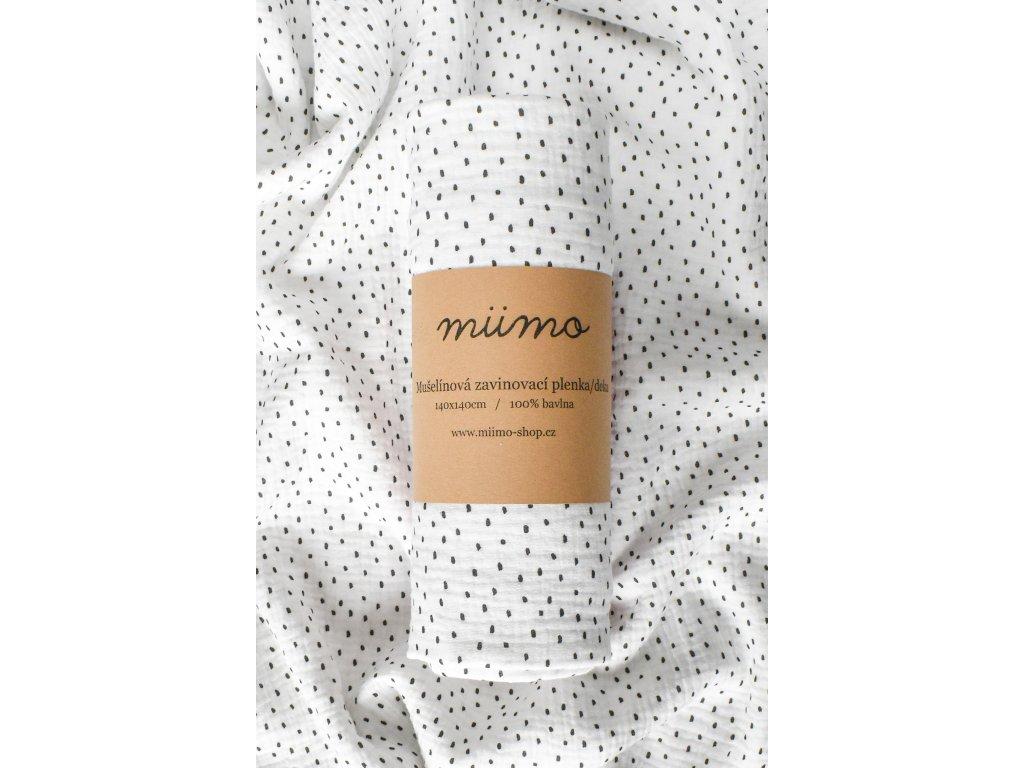 Mušelínová deka černé tečky