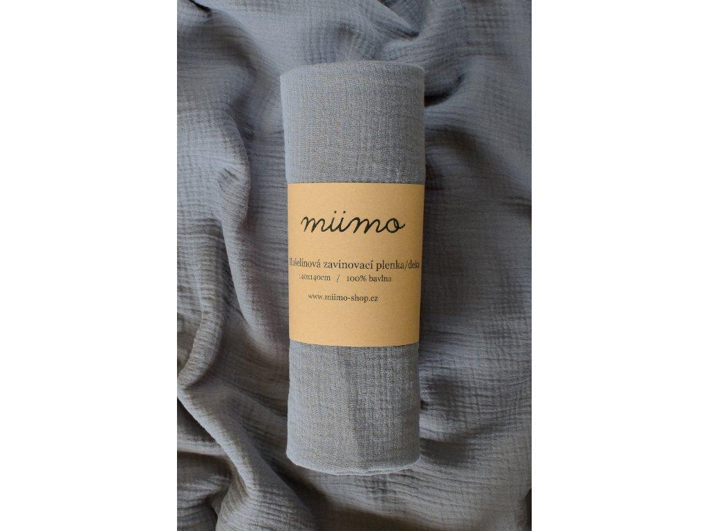 Mušelínová deka - tmavě šedá
