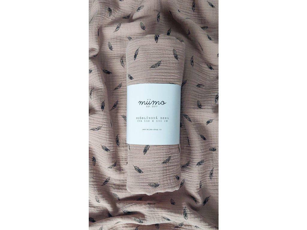 Mušelínová deka - bílo růžová