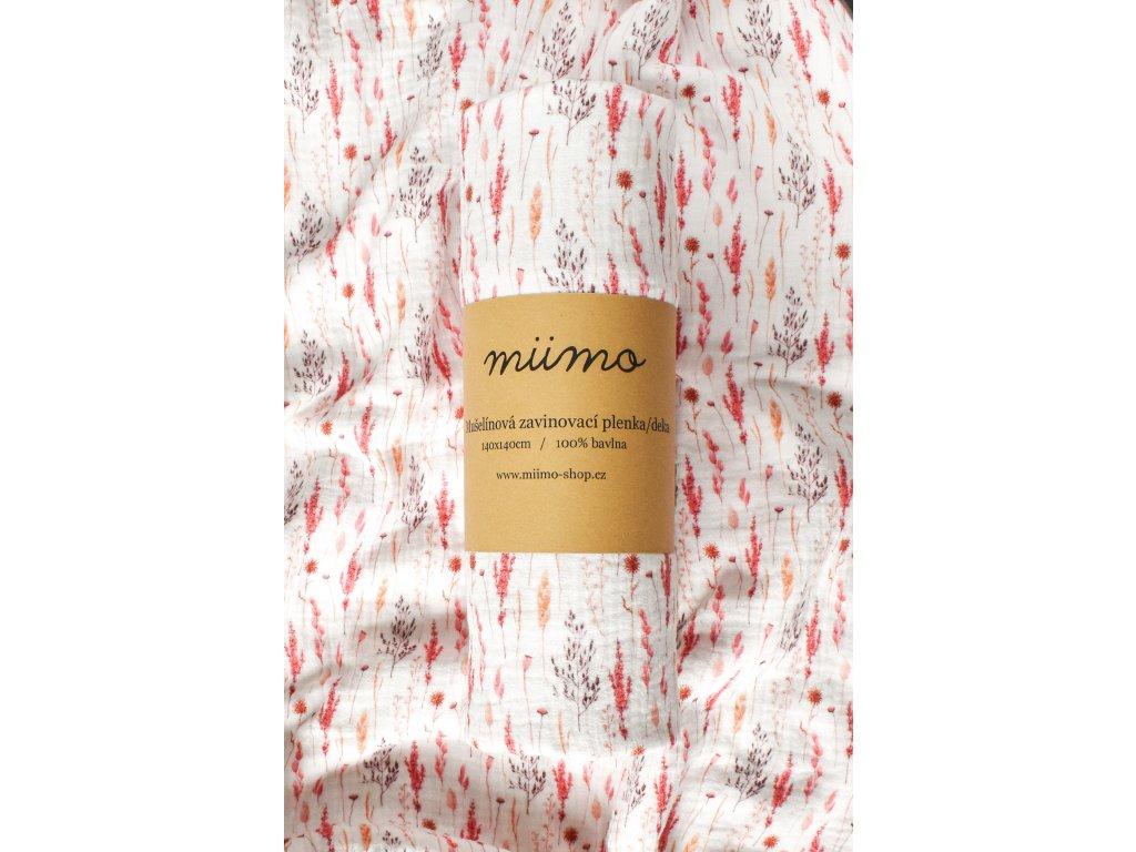 Mušelínová deka - růžové větvičky