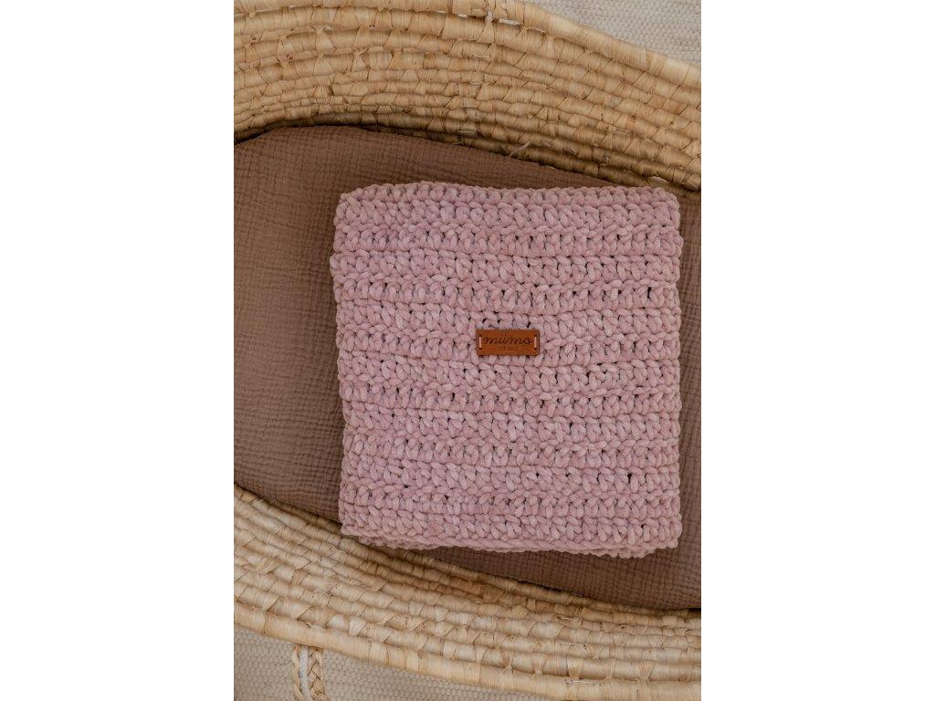 Háčkovaná deka - starorůžová