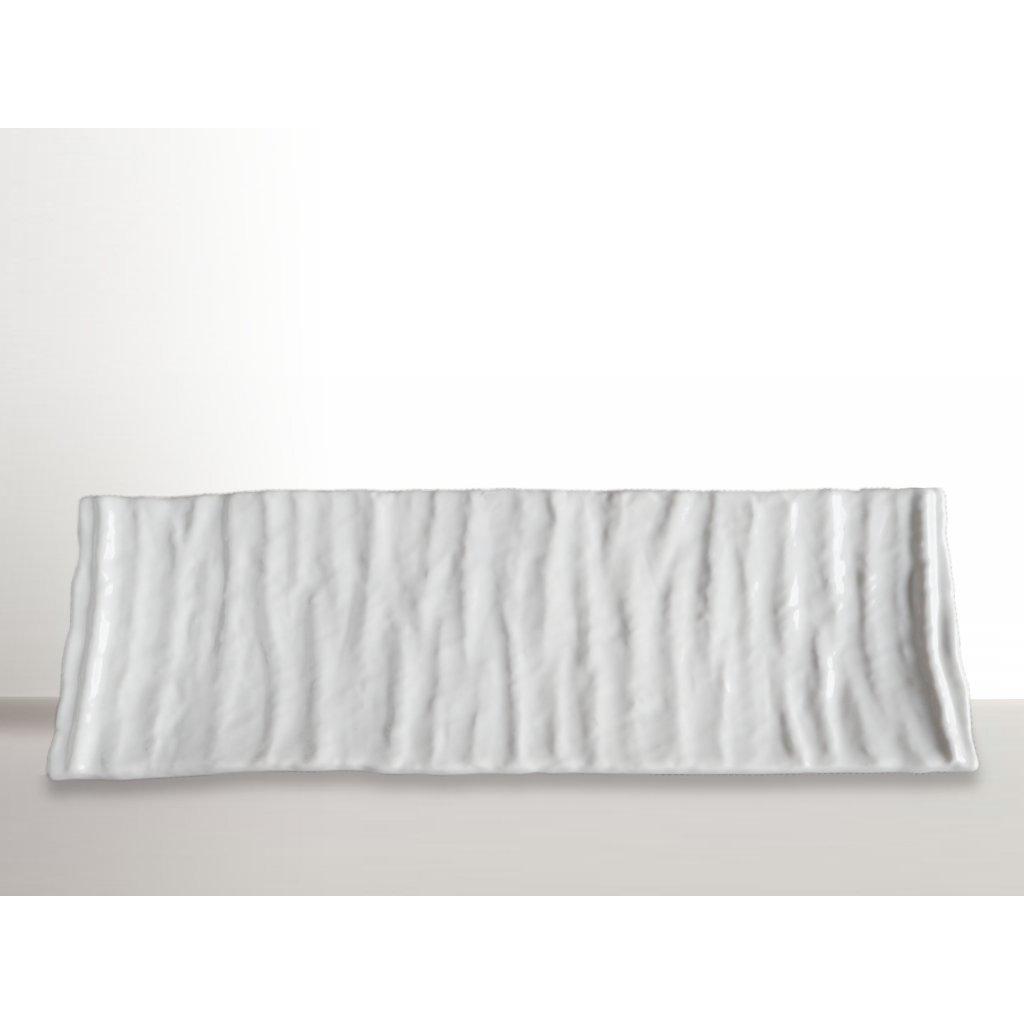 Rectangular sushi plate Crumpled, white, 33 x 11 cm