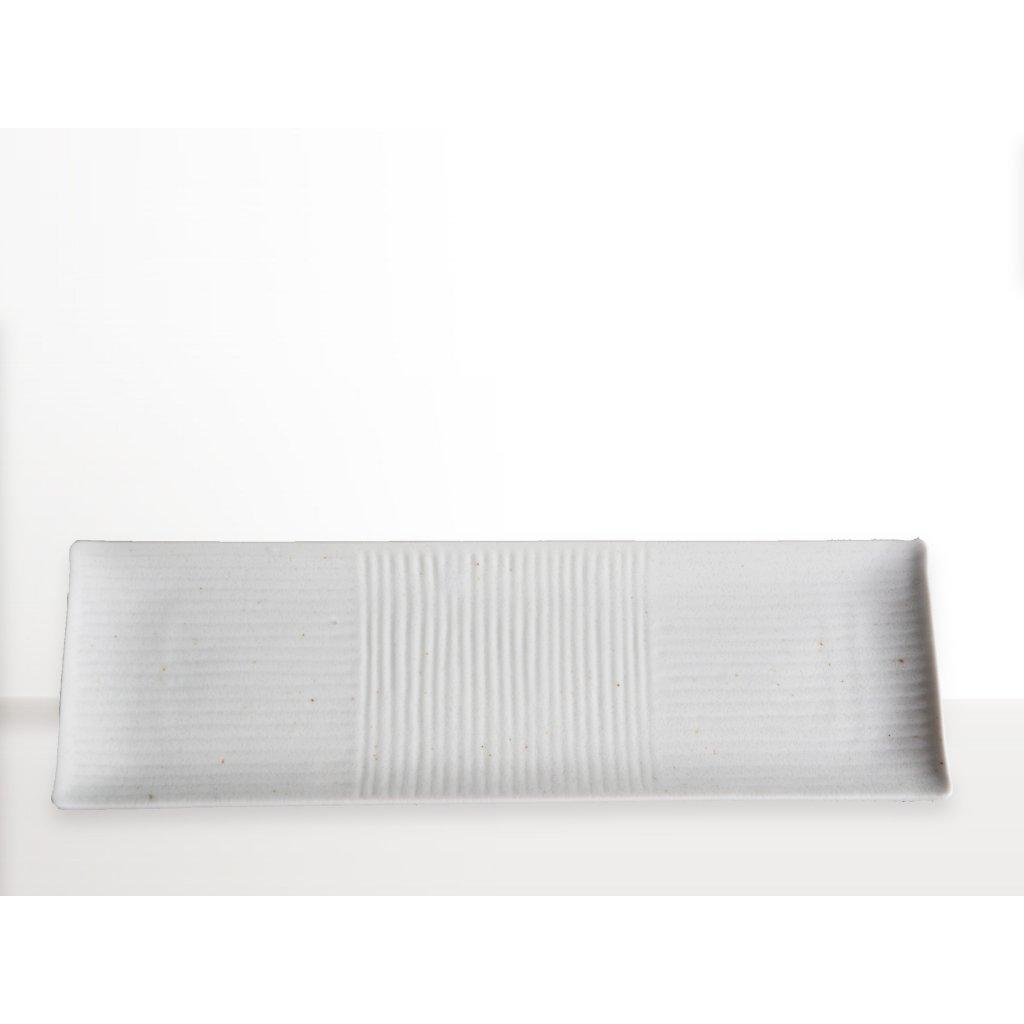 Rectangular sushi plate Lines, white, 33 x 10 cm