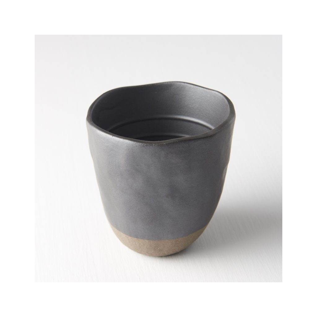 Tall Elegant Mug without Handle - black and brown