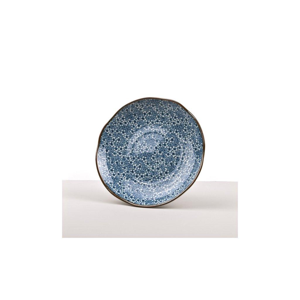Round Plate DK Blue Flower 23 cm