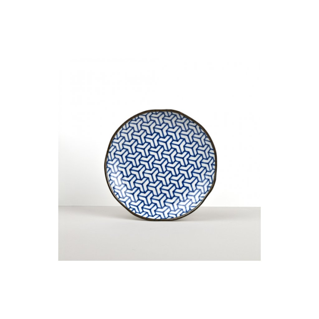 Round Plate Herringbone INDIGO IKAT 23 cm