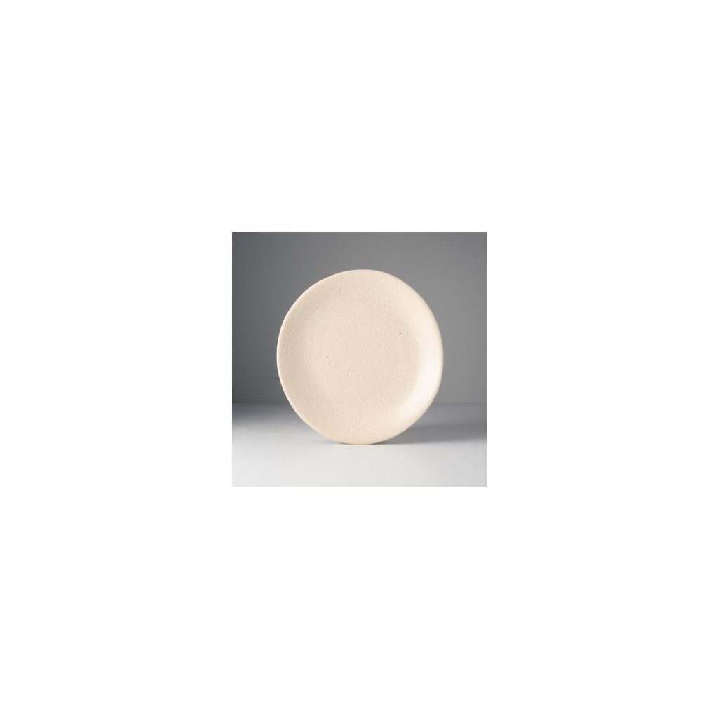 Round Plate with Patchy Edge 24 x 25 cm, sand