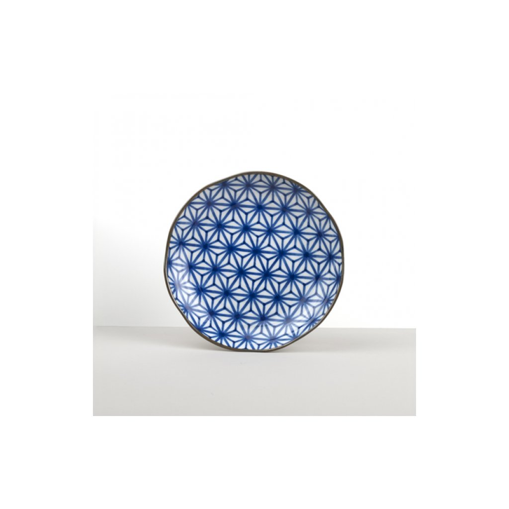 Round Plate Starburst INDIGO IKAT 23 cm