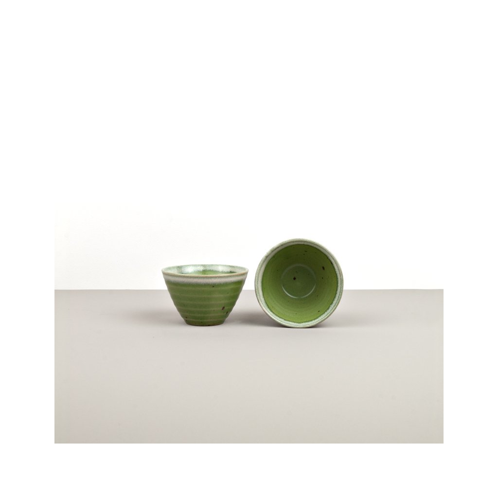 Small Bowl, green with white edge, 9 × 6 cm