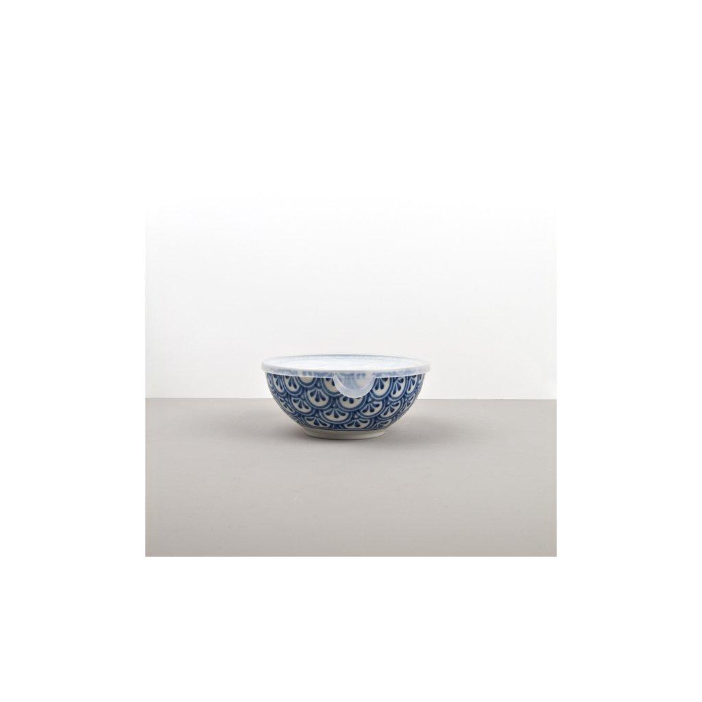 Bowl 3 Petal Crest INDIGO IKAT with plastic lid 16 cm