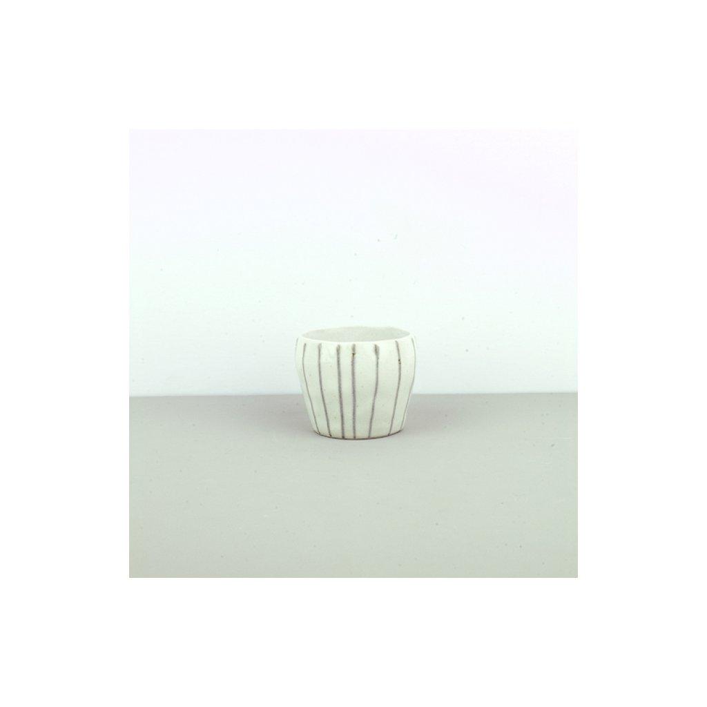 Tea bowl TEACUP white with grey stripes