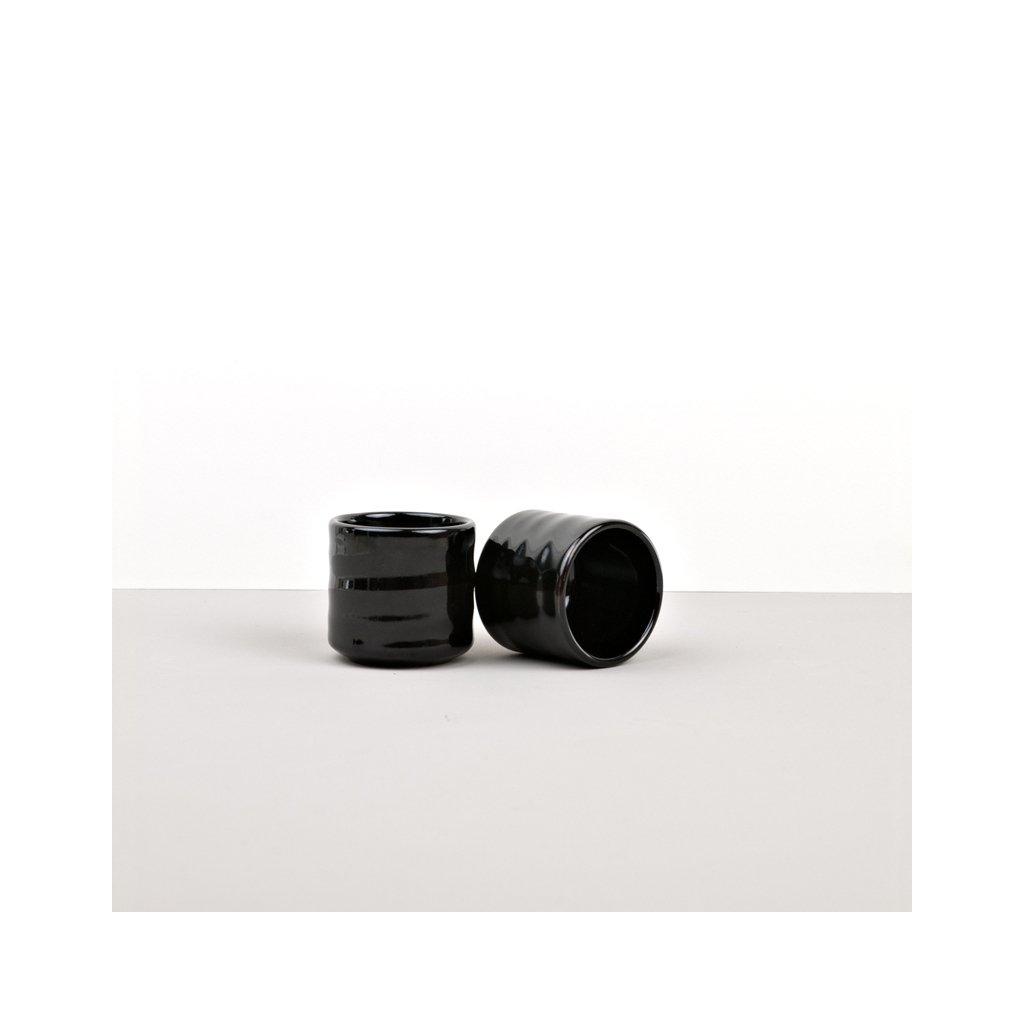 Sake Cup, Sake Cup, tall, black and brown