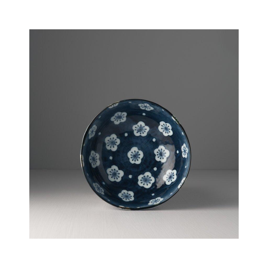 Irregular shape bowl Navy & White Blossom 17 cm