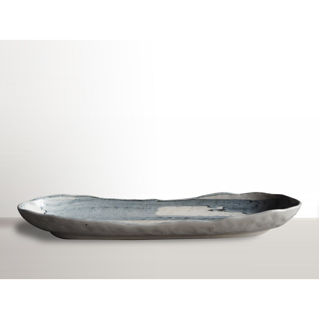 Oval sushi plate Denim white 33 x 10 cm