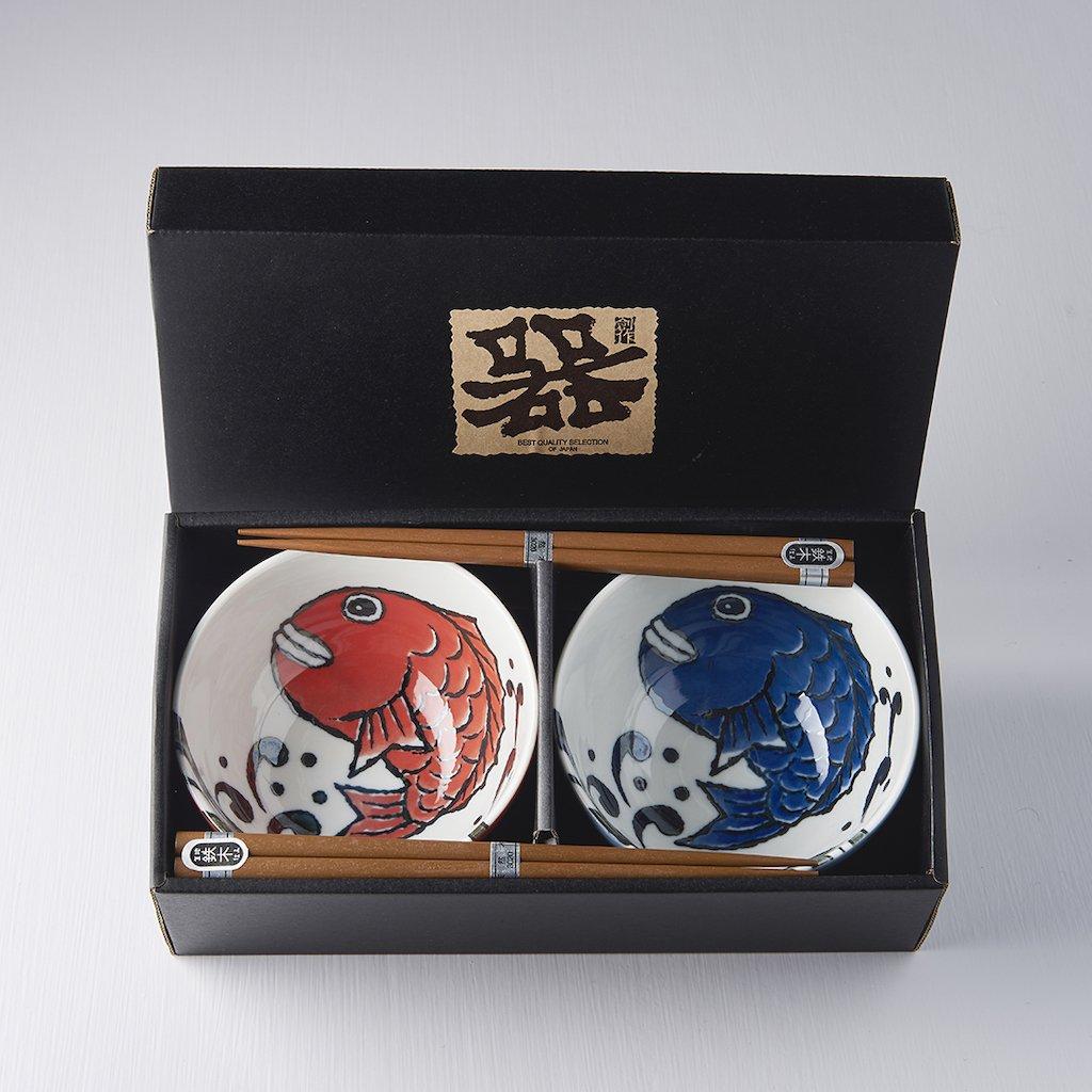 Bowl set with chopsticks Manga Fish