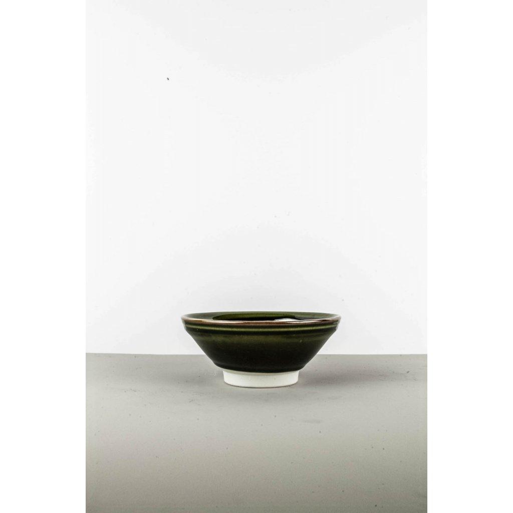 Medium Bowl, 17 cm, dark green with white