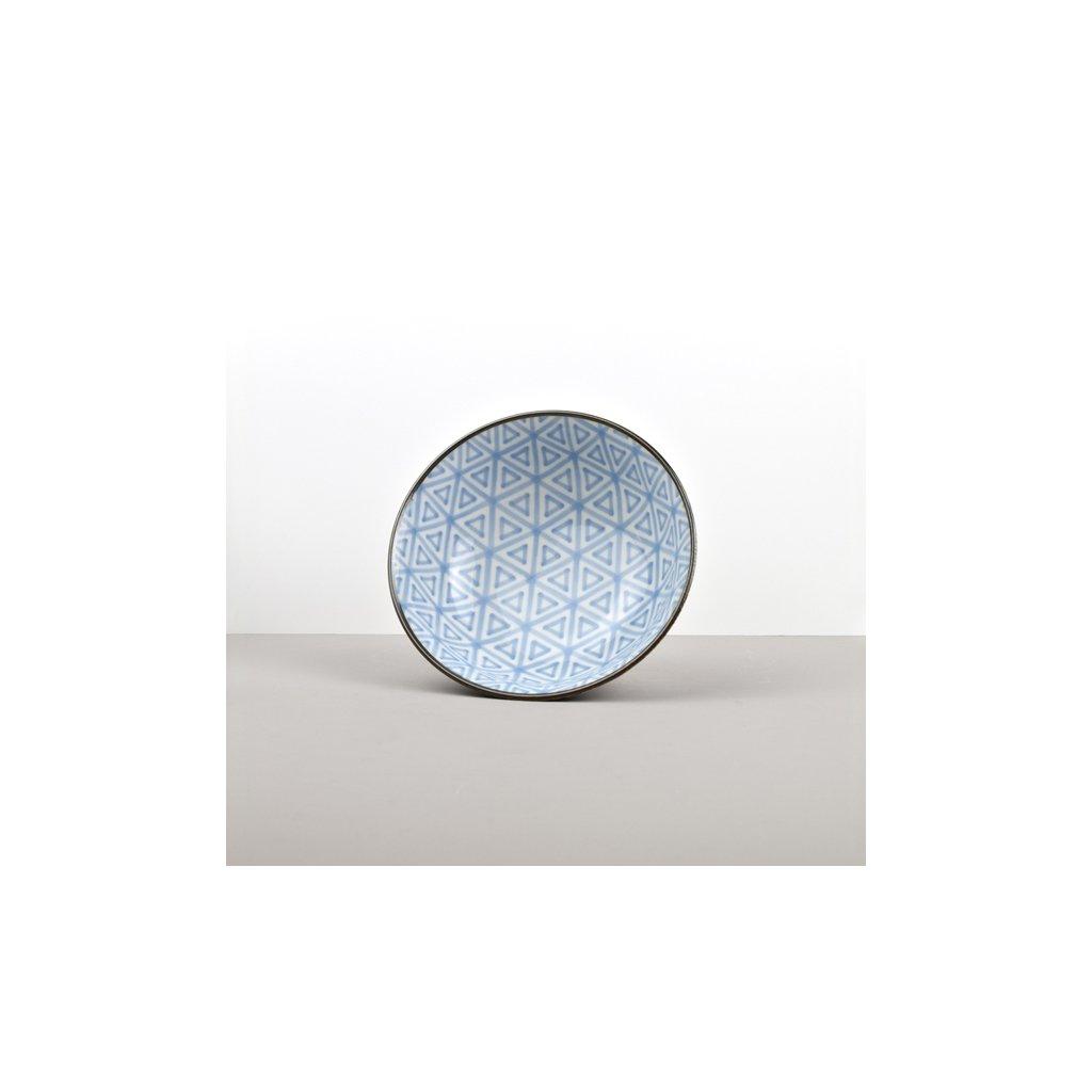 Large Bowl Triangle, INDIGO IKAT, 19 cm
