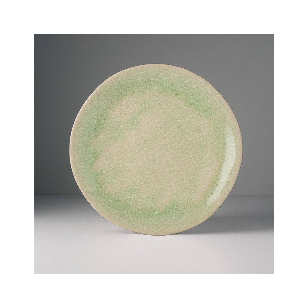 Large Round Plate with Patchy Edge Celadon 26 cm