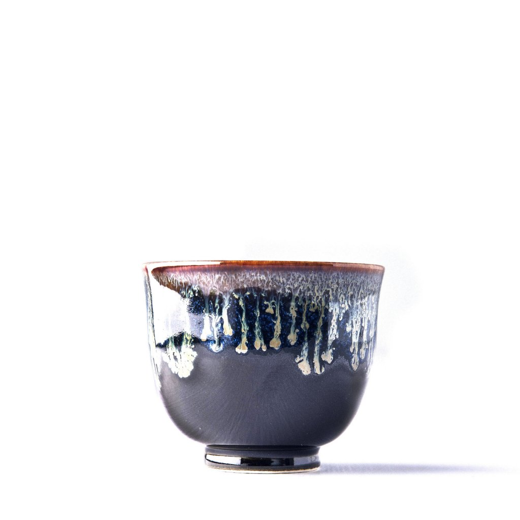 Teacup Black with Bright Blue Drip 150 ml