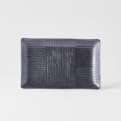 Rectangular sushi plate Lines, black, 21 x 13 cm