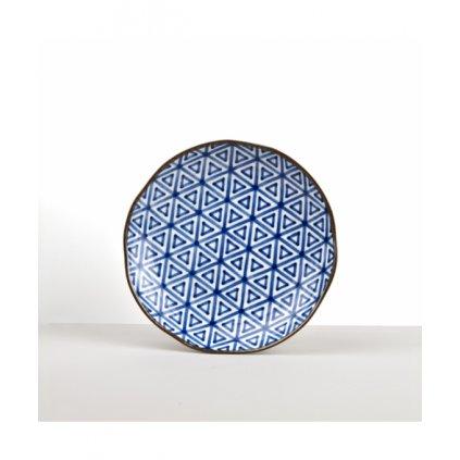 Round Plate Triangle INDIGO IKAT 23 cm