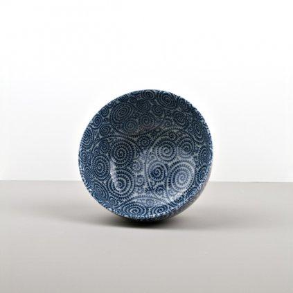 Udon Bowl, Blue Scroll 16 × 8,5 cm