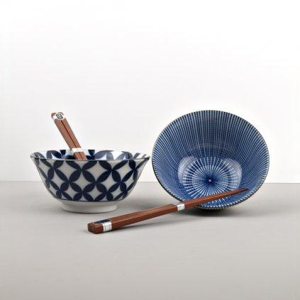 Bowl set with chopsticks Ikat Blue
