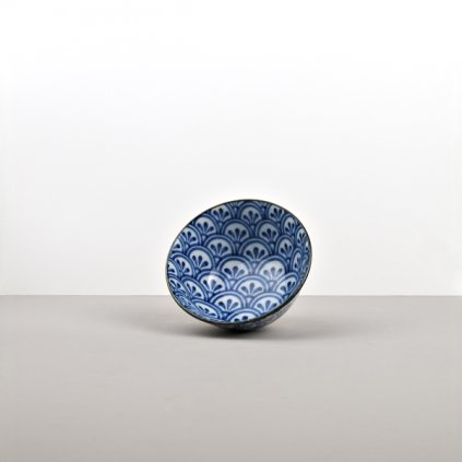 Medium bowl 3 Petal Crest Indigo Ikat 13 cm