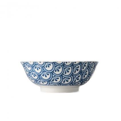 Large Bowl 3 Petal Crest, INDIGO IKAT, 19 cm