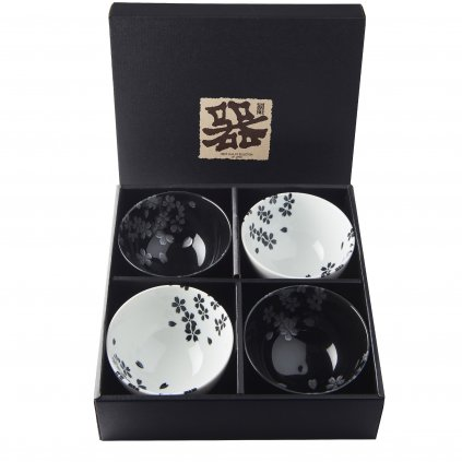 Bowl set 4 pcs BLACK&WHITE Sakura Design 11,5 cm