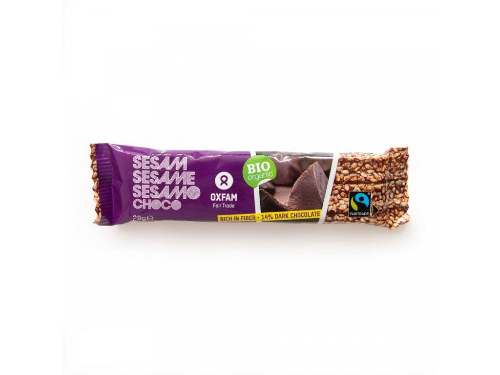 Bio organická sezamová tyčinka s hořkou čokoládou 20 g