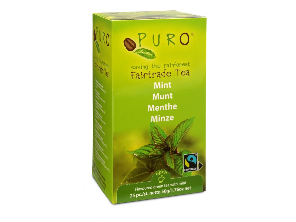 Fairtrade čaj porcovaný Puro zelený s mátou 25x2g