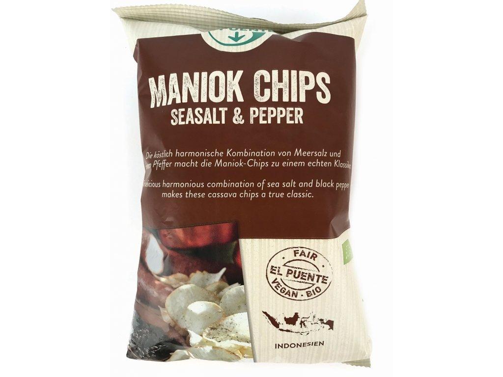BIO chipsy z manioku - příchuť mořská sůl, pepř 30g