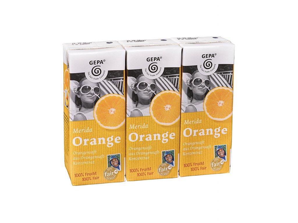 Pomerančový džus (100% ovocný) 0,2 l, 3 ks