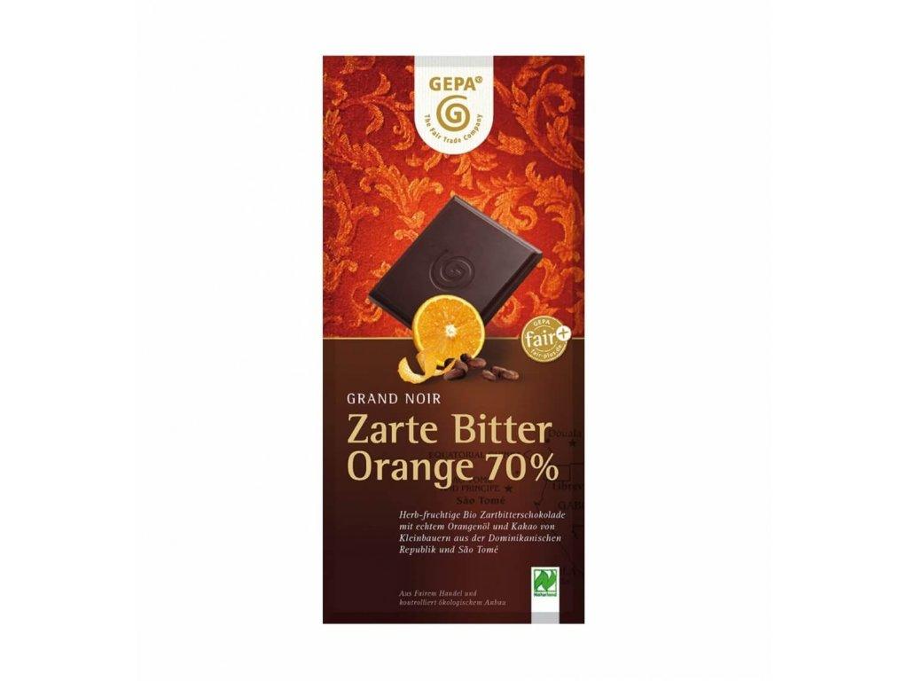 BIO hořká čokoláda 70% pomeranč. olej, 100 g