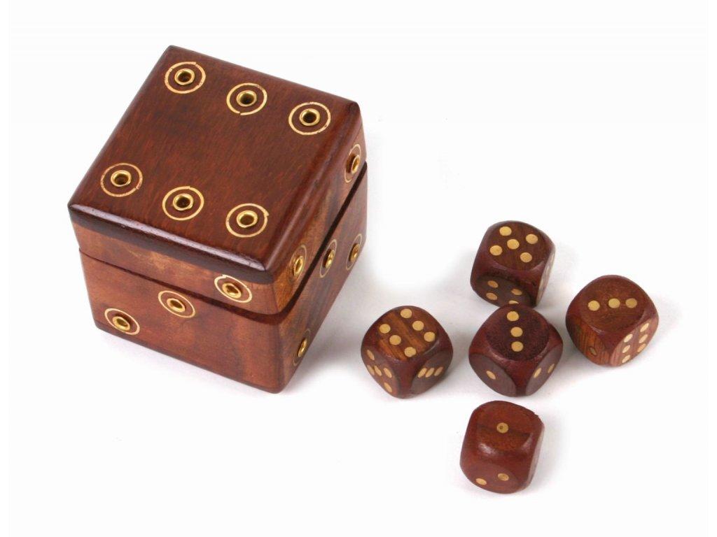 Kostka - dřevěná krabička - 5 kostek