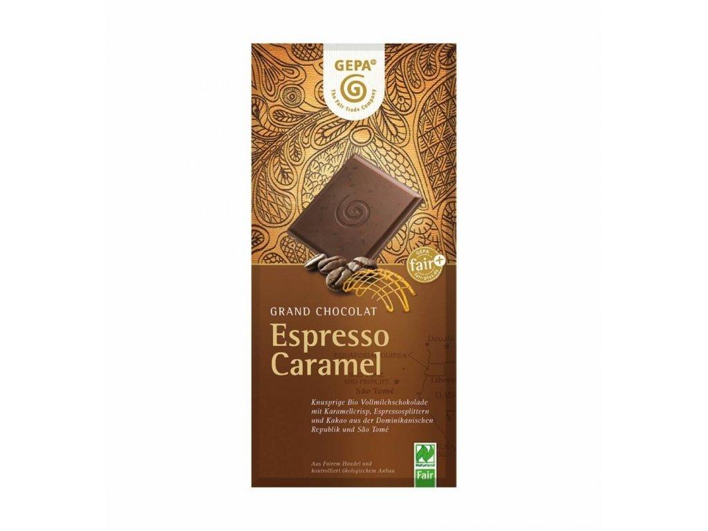 BIO mléčná čokoláda espresso karamel 100 g