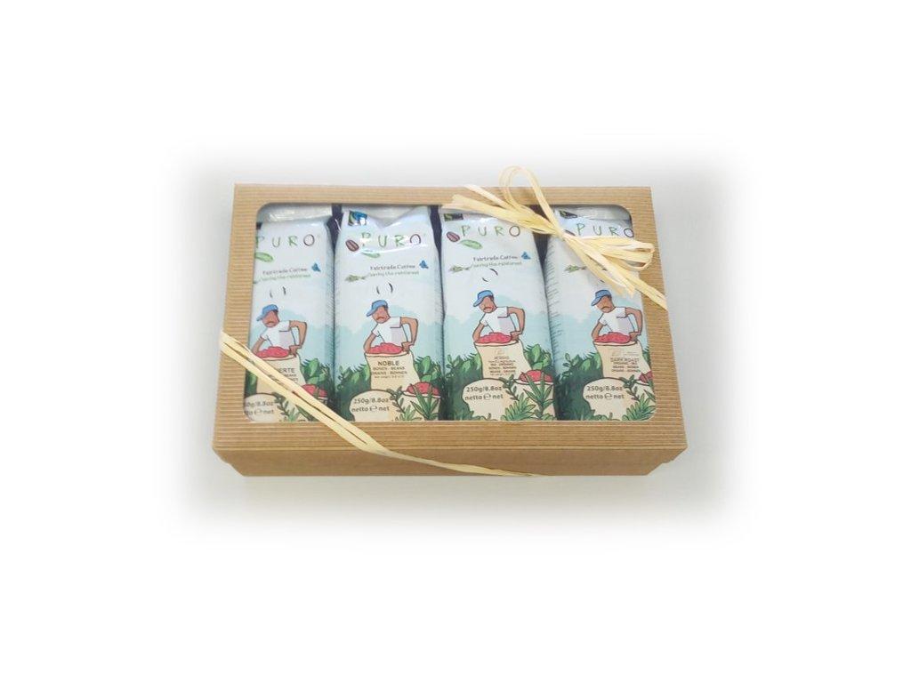 FAIRTRADE dárkový balíček Puro set zrnkových káv, 4 x 250 g