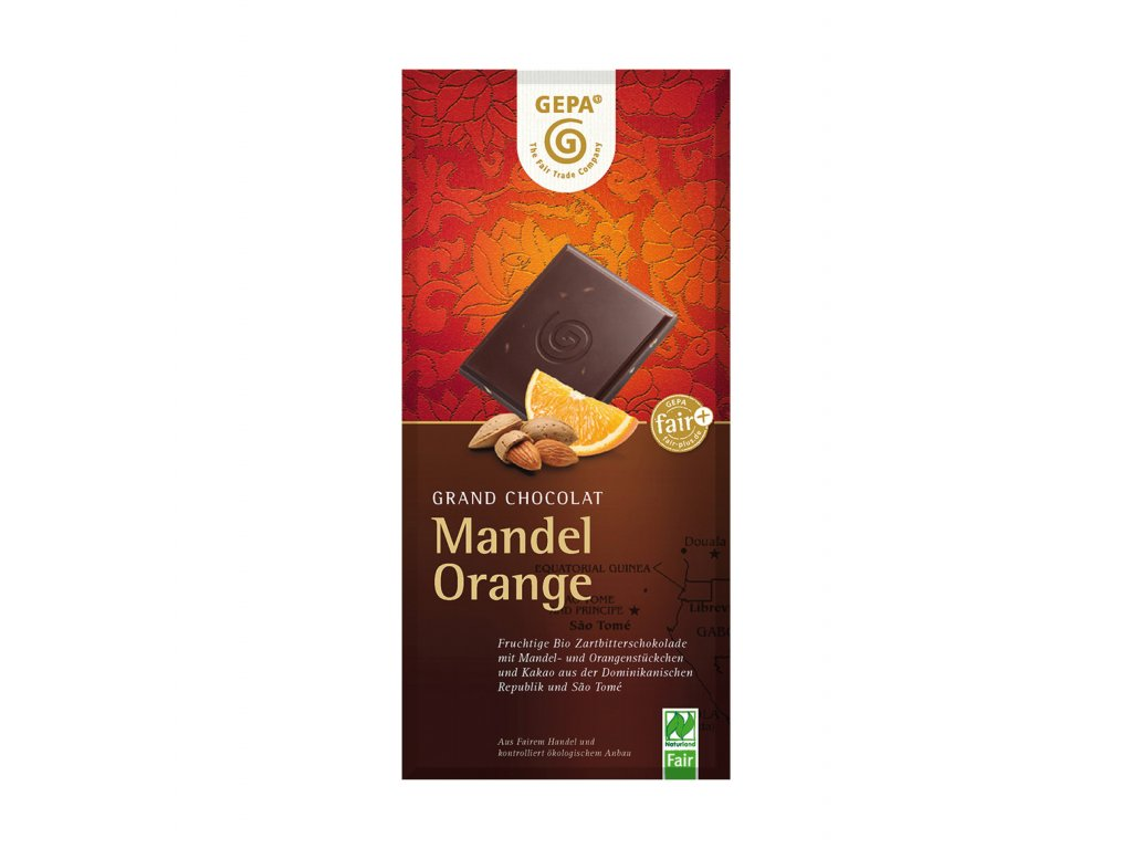 BIO hořká čokoláda s pomerančem a mandlemi, 100 g