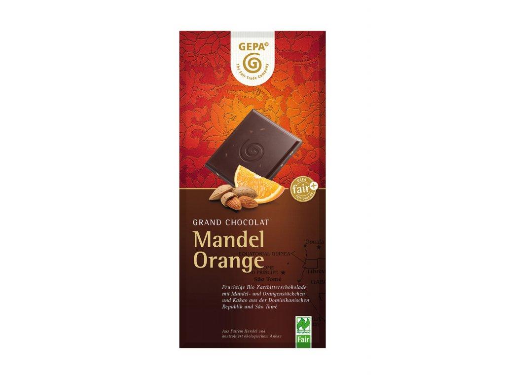 BIO hořká čokoláda s pomerančem a mandlemi