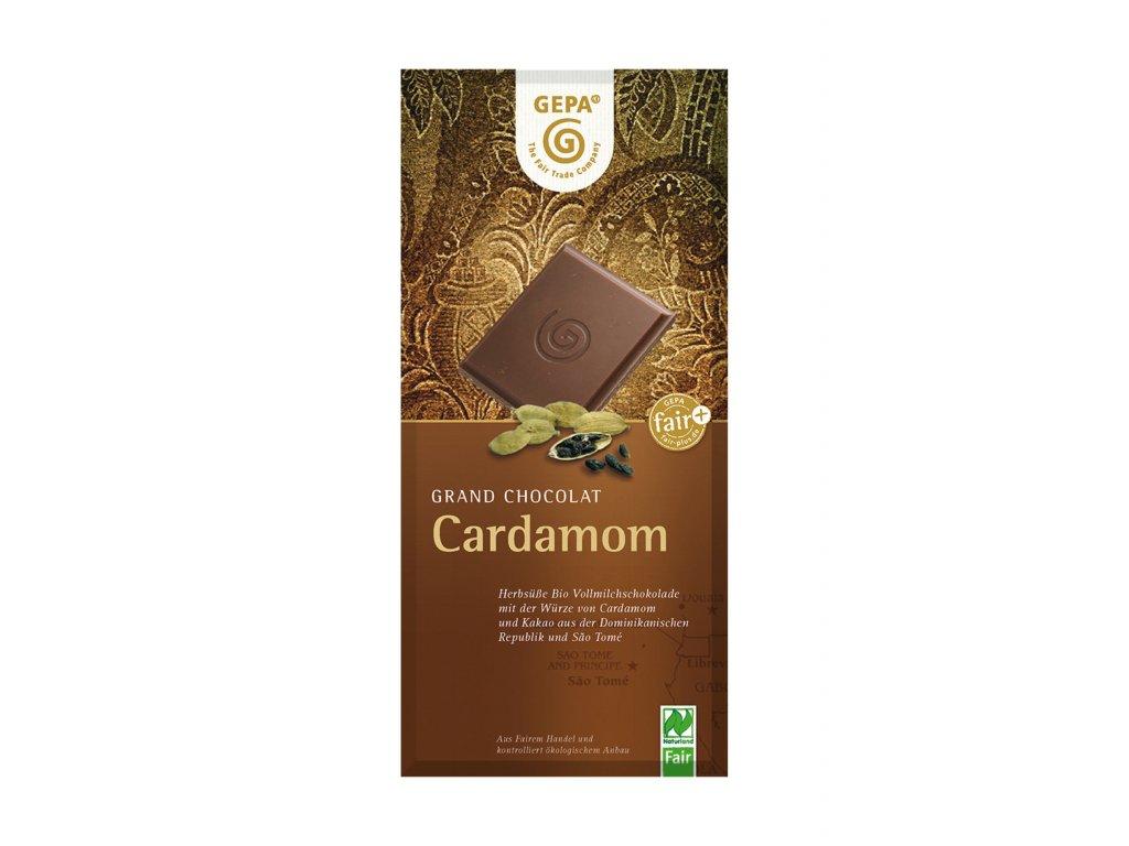 BIO mléčná čokoláda s kardamonem, 100 g