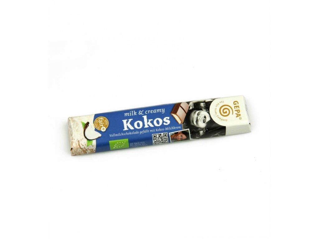 BIO mléčná čokoláda s kokosovým krémem, 37,5 g
