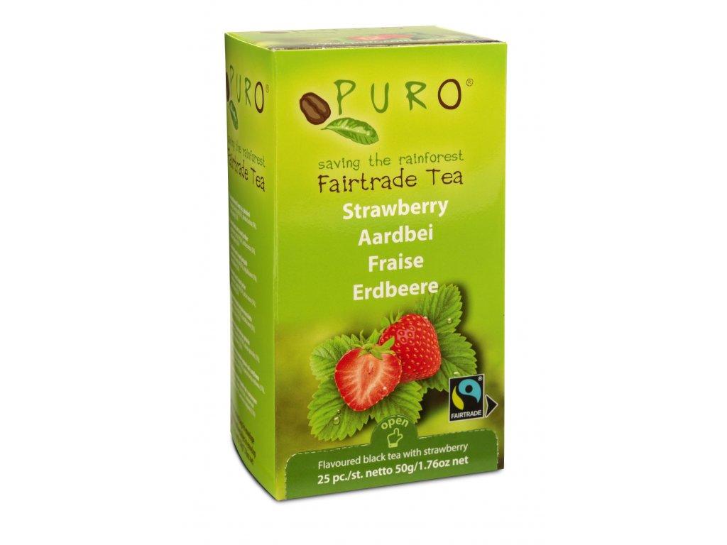 Fairtrade čaj porcovaný Puro s jahodami 25x2g