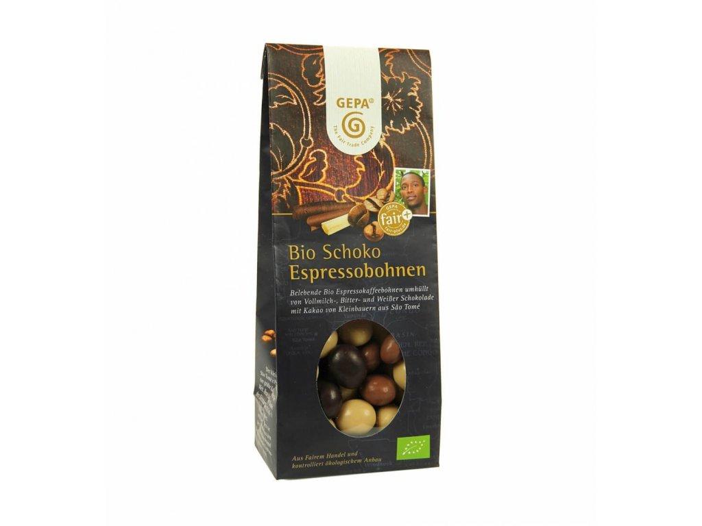 BIO kávová zrna v čokoládě 100 g