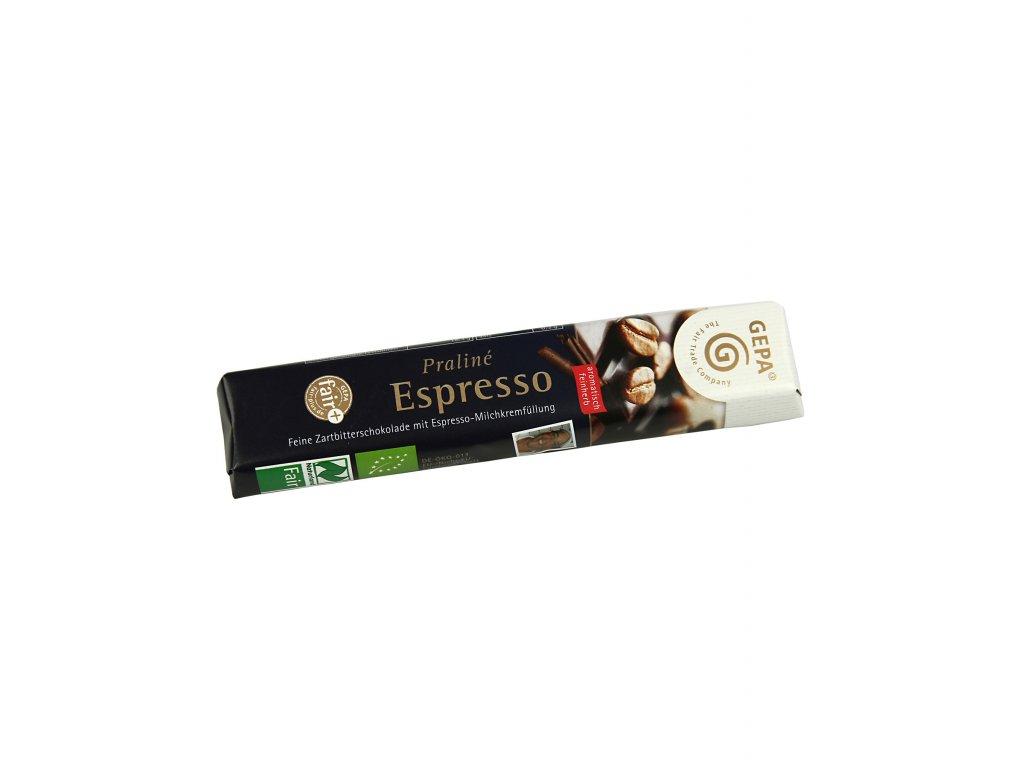 BIO hořká čokoláda Praliné Espresso, tyčinka s kávou