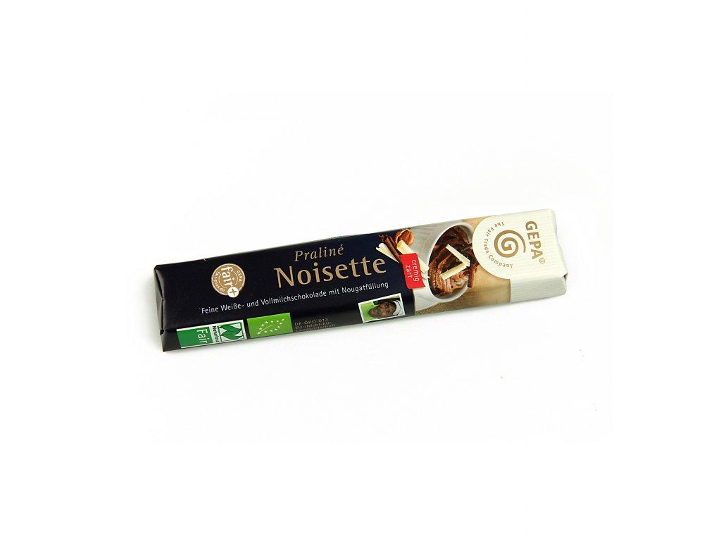 BIO mléčná čokoláda Praliné Noisette, tyčinka s nugátem, 37,5 g