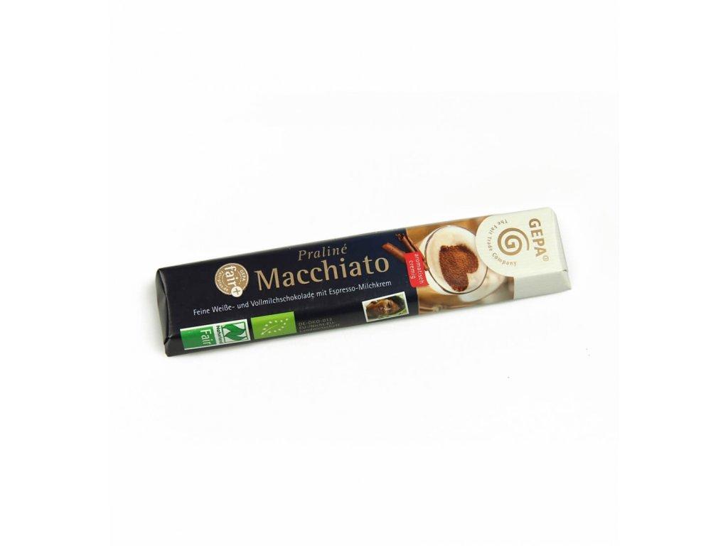 BIO mléčná čokoláda fairtrade Macchiato, tyčinka s kávou, 37,5 g
